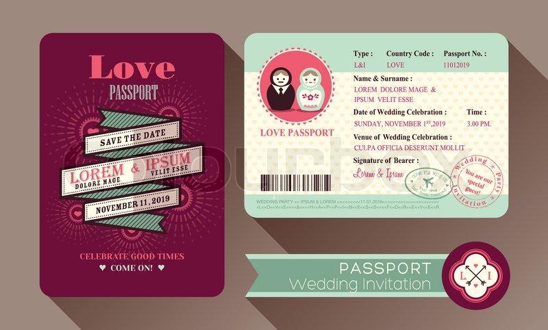 Retro Visa Passport Wedding Invitation Stock Vector Colourbox