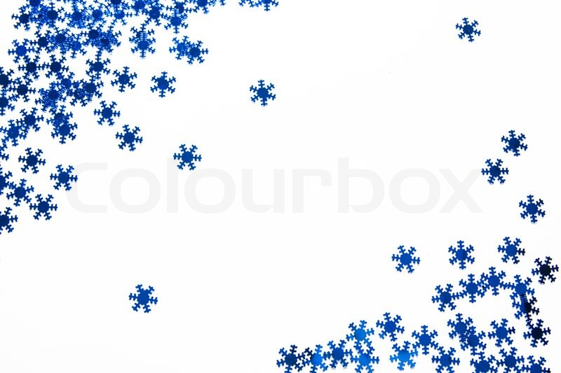 Christmas Background With Blue Stars White Blank Stock