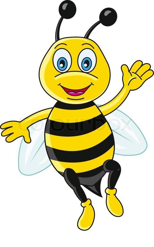 Funny bee in cartoon style Vector illustration Stock