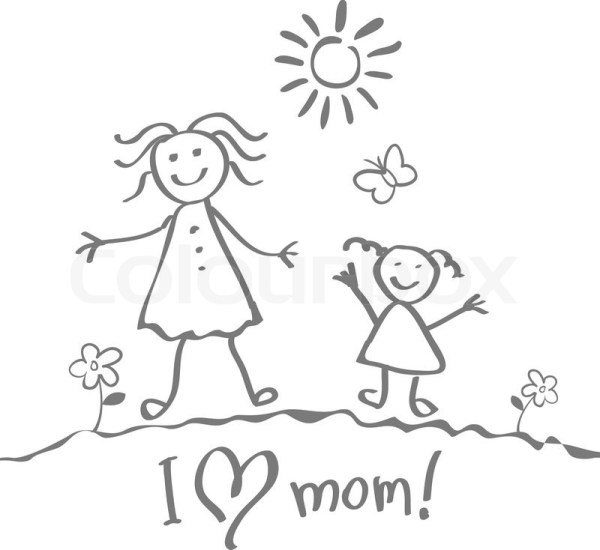 Kids Drawing. The Mother's Day vector heart art happy ...