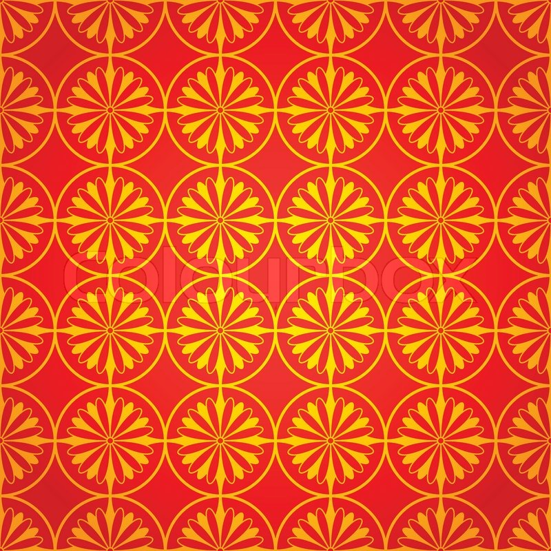 National Chinese Seamless Pattern With Chrysanthemum
