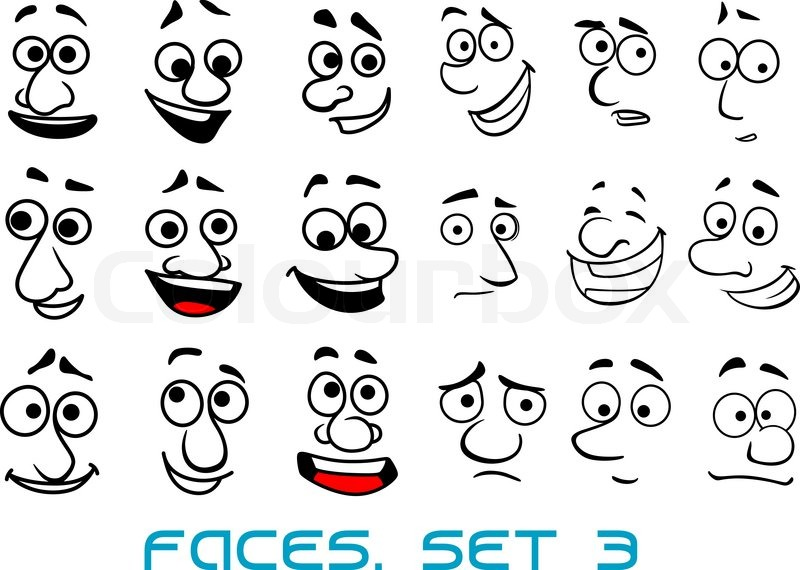 Cartoon Funny Faces In Doodle Sketch Style With Happiness
