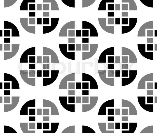 Abstract Geometric Background 1960s 1970s 1980s Trendy Seamless Pattern Black And White Fabric Retro Style Cute Wrapping Paper For Design Stock