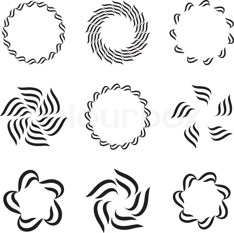 Nine Round Design Elements Stock Vector Colourbox