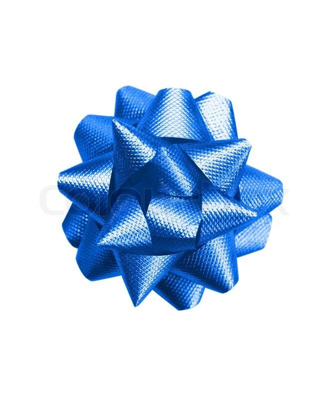 Gift Dark Blue Bow Isolated On White Background Stock