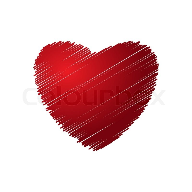 Red Drawing Heart Vector Illustration Stock Vector