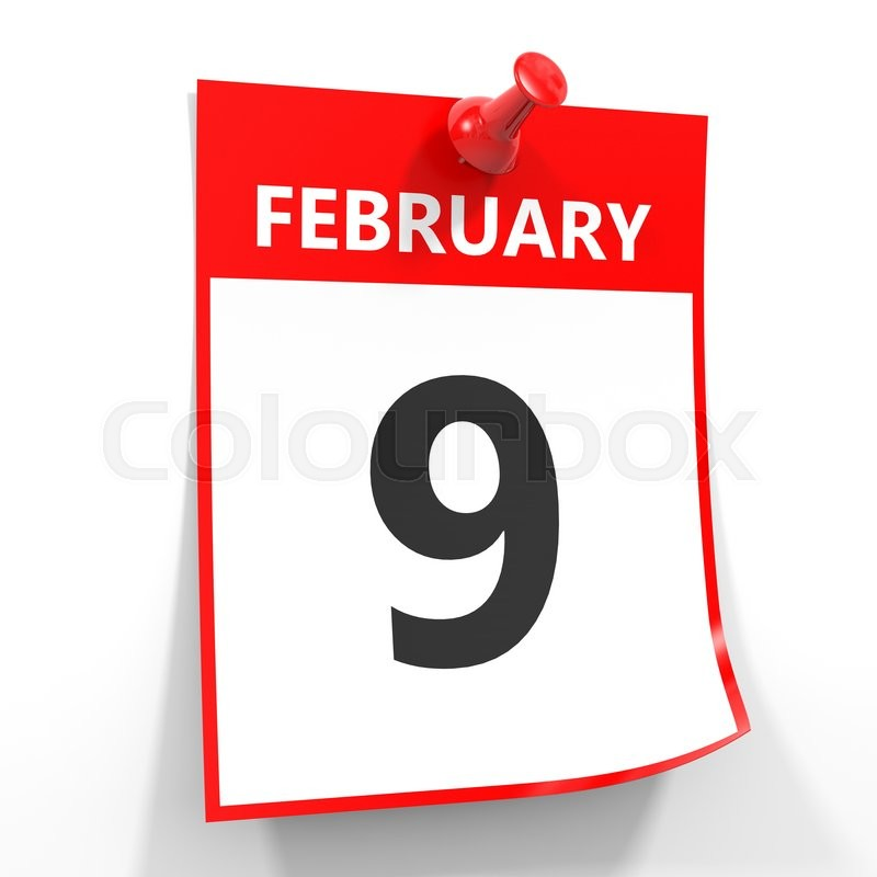 9 February Calendar Sheet With Red Pin On White Background