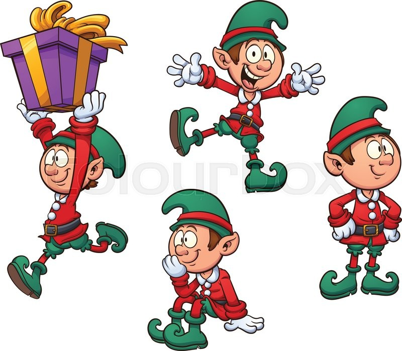 Christmas Elf In Different Positions Vector Clip Art
