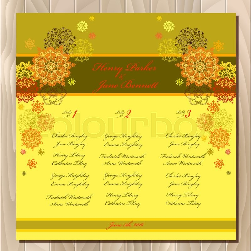 yellow snowflakes wedding guest list