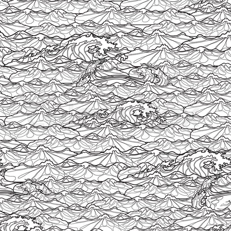 Ocean Storm Waves Seamless Pattern Drawn In Line Art Style