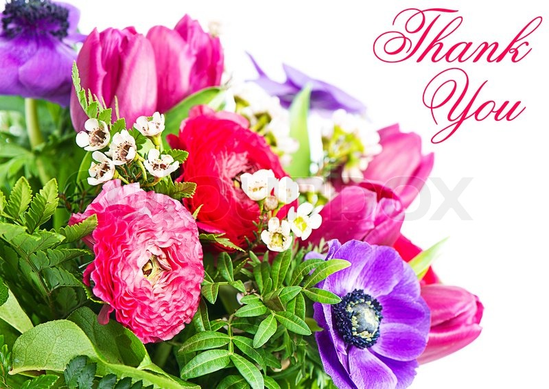Thank You Colorful Flowers Bouquet Card Concept Stock