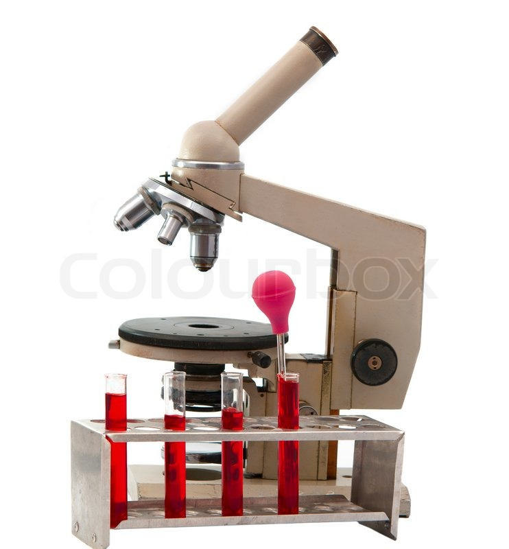 Laboratory Microscope On A White Background Stock Photo