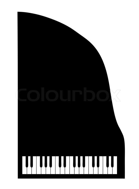 Vector Silhouette Grand Piano On White Background Stock