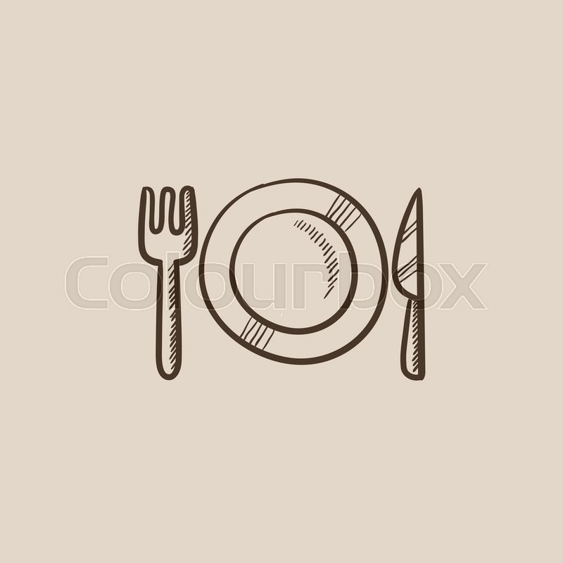 Plate With Cutlery Sketch Icon For Web Mobile And
