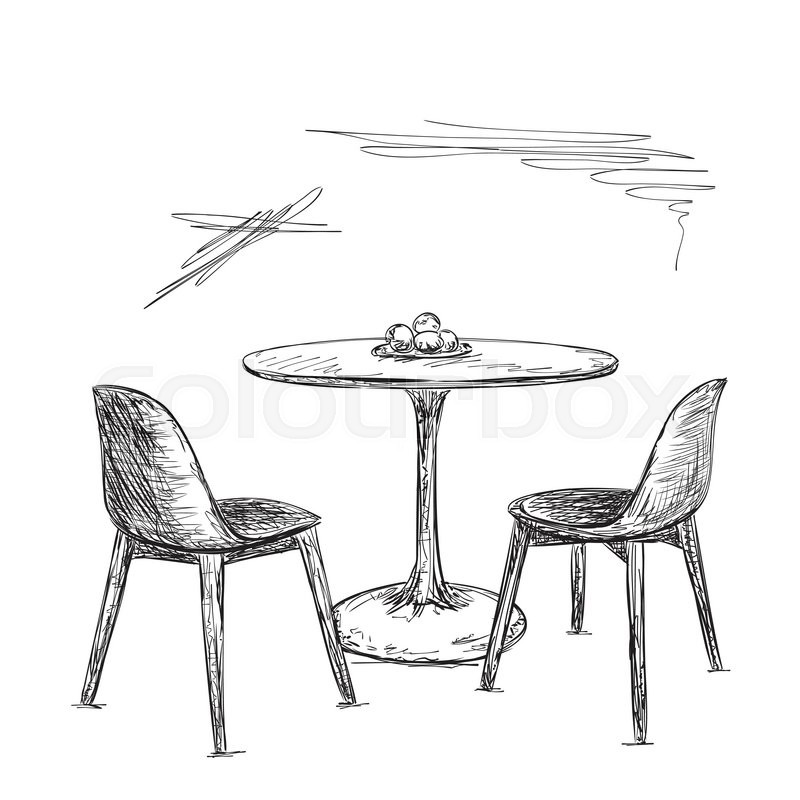 Hand Drawn Cafe Or Kitchen Interior Table And Chair