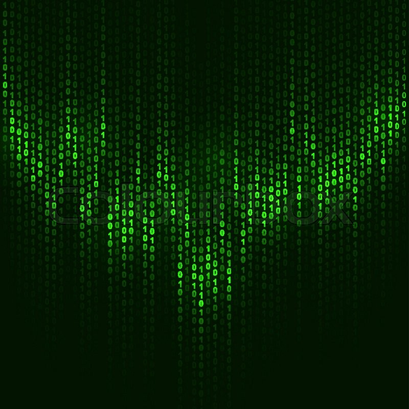 Binary Code Dark Green Vector Background With Copy Space