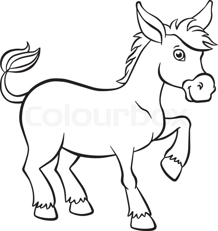 Coloring Pages Animals Little Cute Stock Vector Colourbox