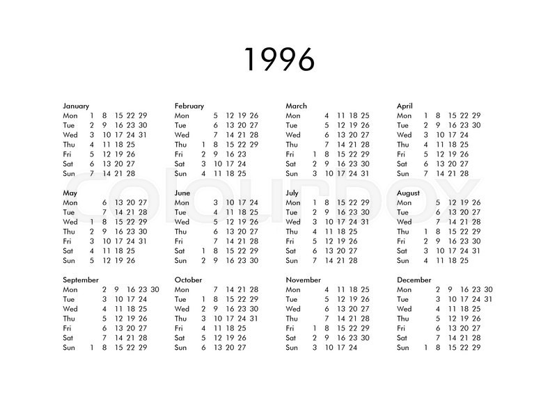 Vintage Calendar Of Year 1996 With All Months