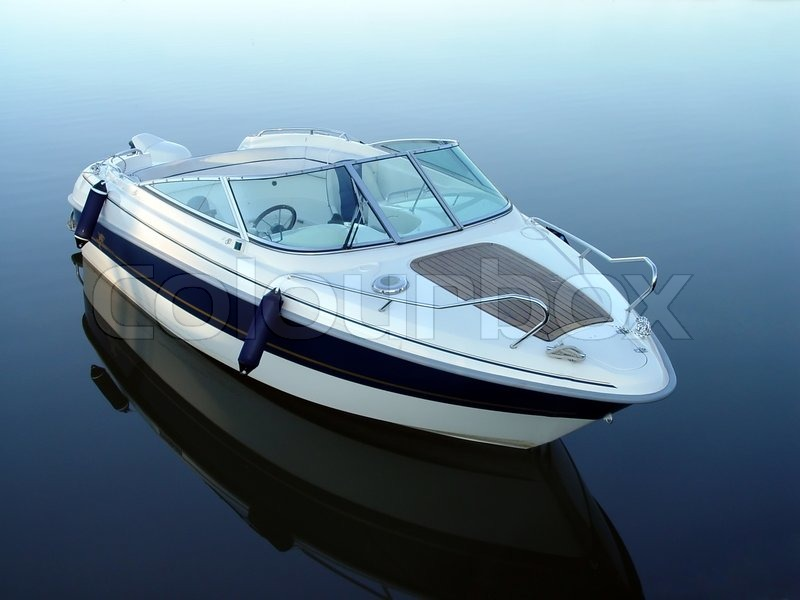 Small Motor Boat On Quiet Water Stock Photo Colourbox