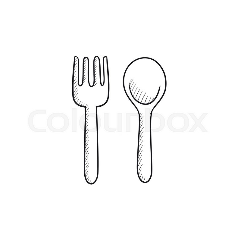 Spoon And Fork Vector Sketch Icon Isolated On Background