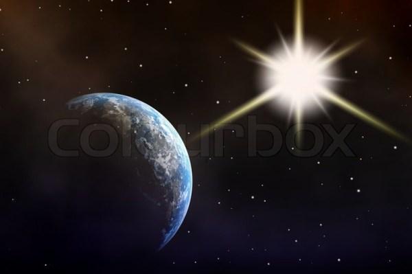 Earth sun stars in black space Stock Photo Colourbox