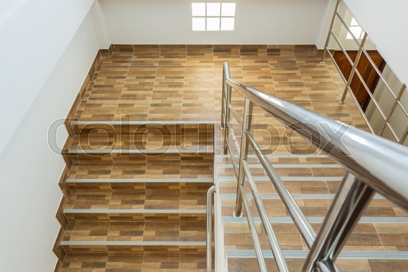 Staircase In Residential House With Stock Image Colourbox | Floor Tiles Design For Stairs | Hallway Floor Tile | Stair Landing | House | Stair Riser | Wall