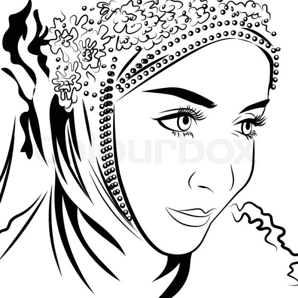 Muslim female in hijab hand drawing Stock Vector
