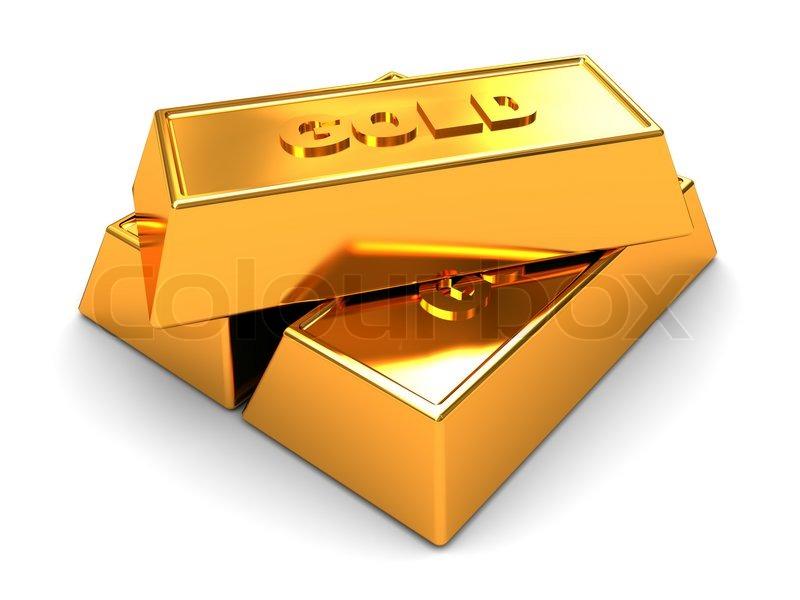 3d Illustration Of Three Golden Bricks Stock Image Colourbox