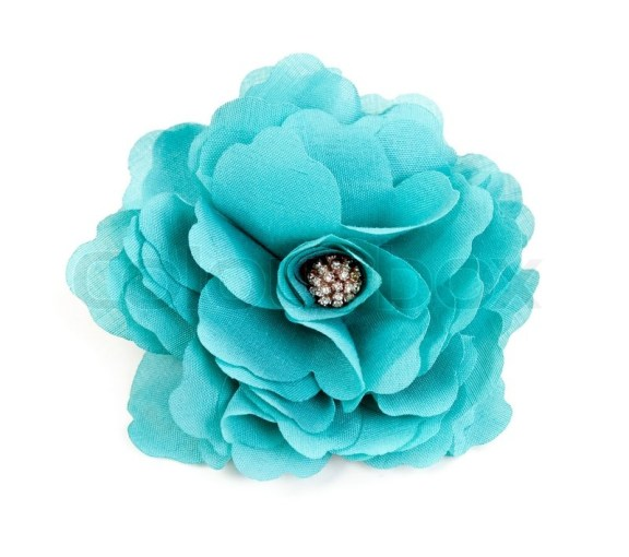 Turquoise fabric flower isolated on a white background   Stock Photo     Turquoise fabric flower isolated on a white background   Stock Photo    Colourbox