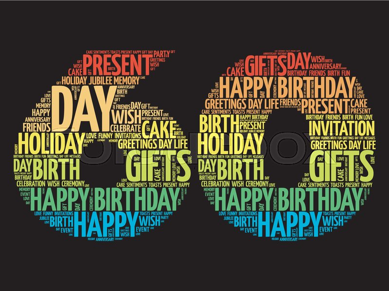 Download Happy 60th birthday word cloud collage ... | Stock vector ...