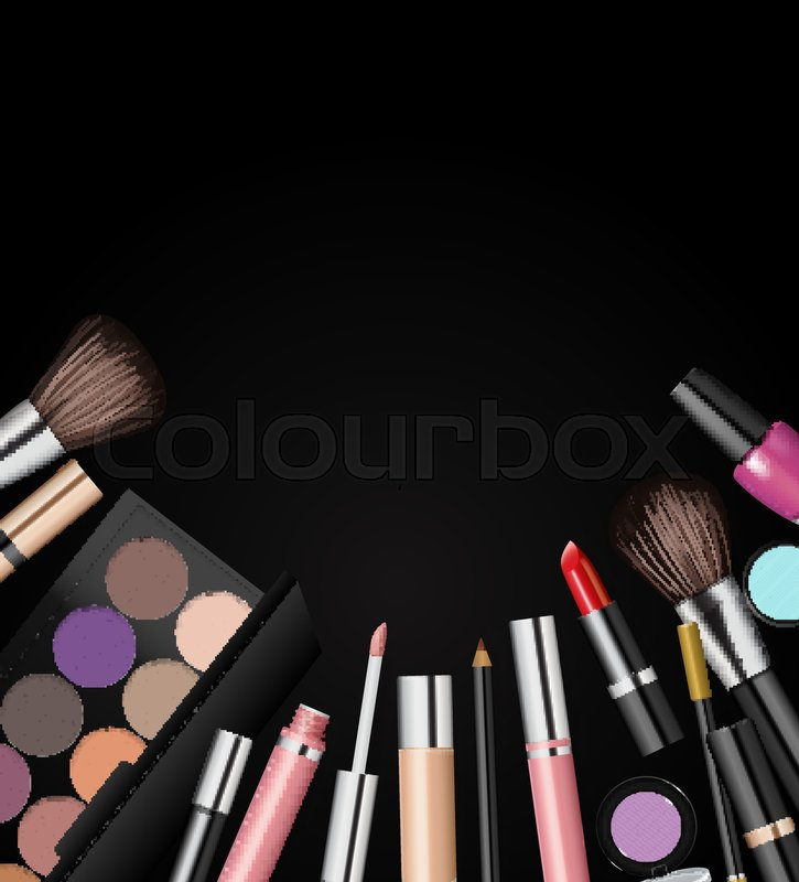 Makeup cosmetics tools  Fashion vector background  Beauty isolated     Makeup cosmetics tools  Fashion vector background  Beauty isolated cosmetic  product packaging  Makeup brush  vector