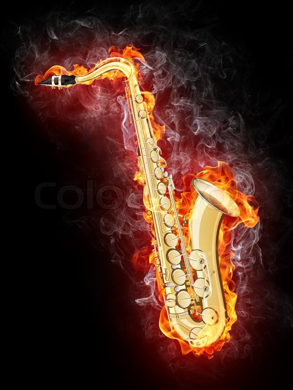 Saxophone In Fire Isolated On Black Background Stock