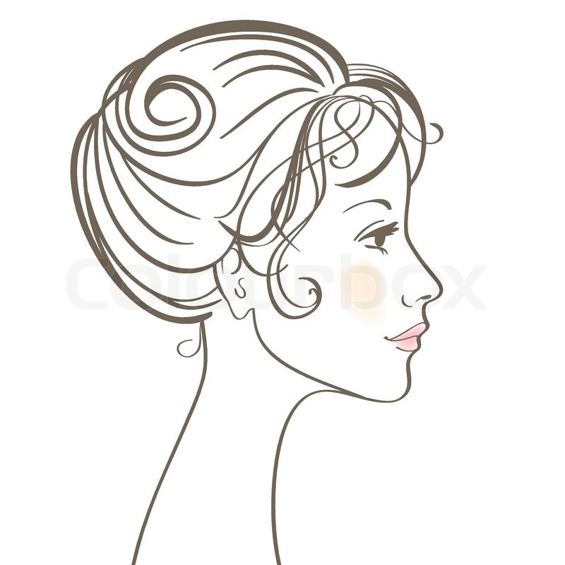Beauty Women Face Vector Illustration With Make Up Stock