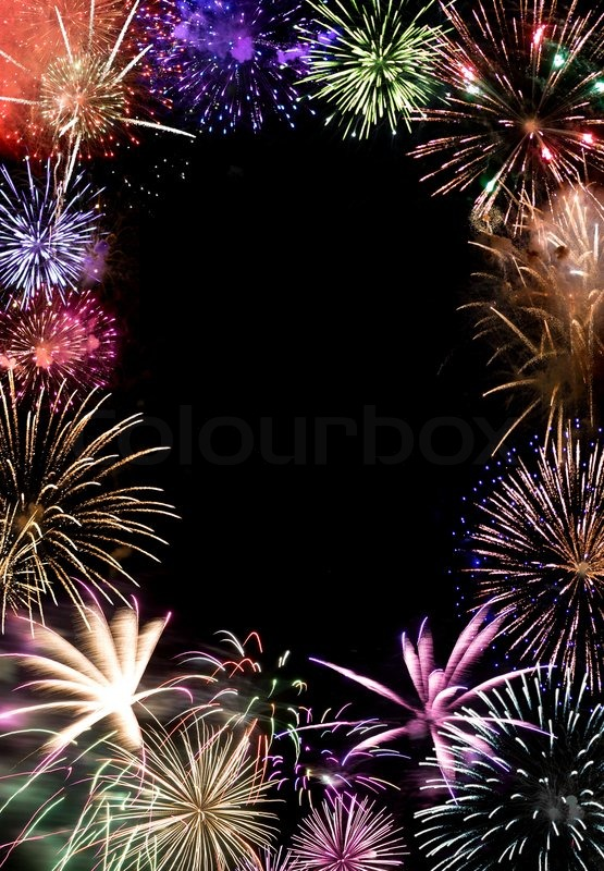 Beautiful Fireworks Exploding Over A Dark Night Sky With