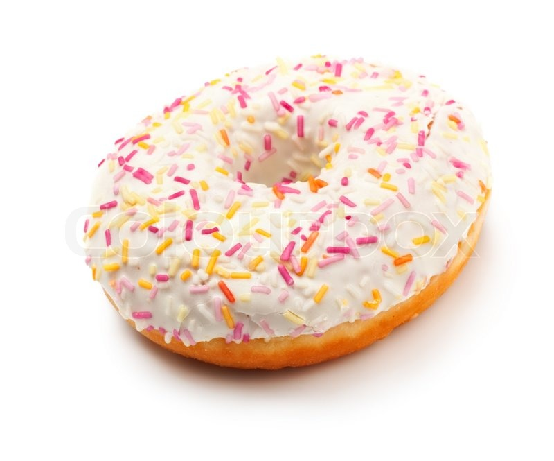 Sugar Glazed Donut Covered In Sprinkles Isolated On White