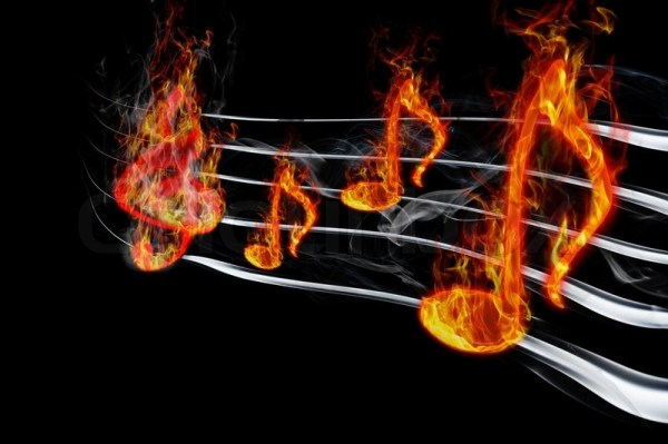 Image of burning music on a black background | Stock Photo ...