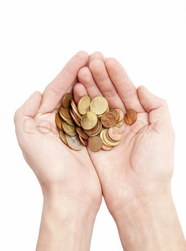 Male Hands Holding Coins Isolated On White
