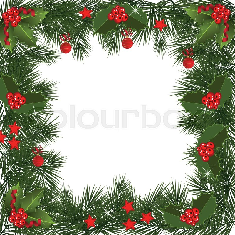A Traditional Christmas Garland Made With Red Berries On A
