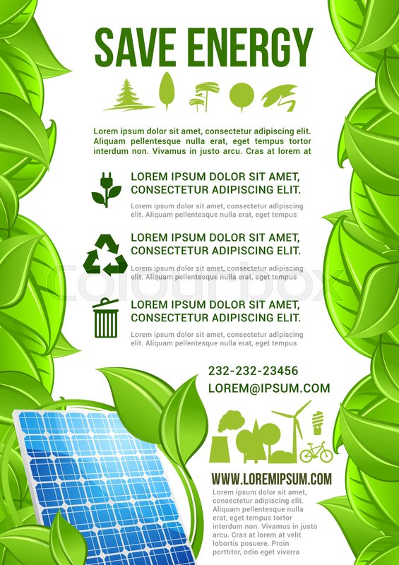Save Energy Vector Poster Or Stock Vector Colourbox