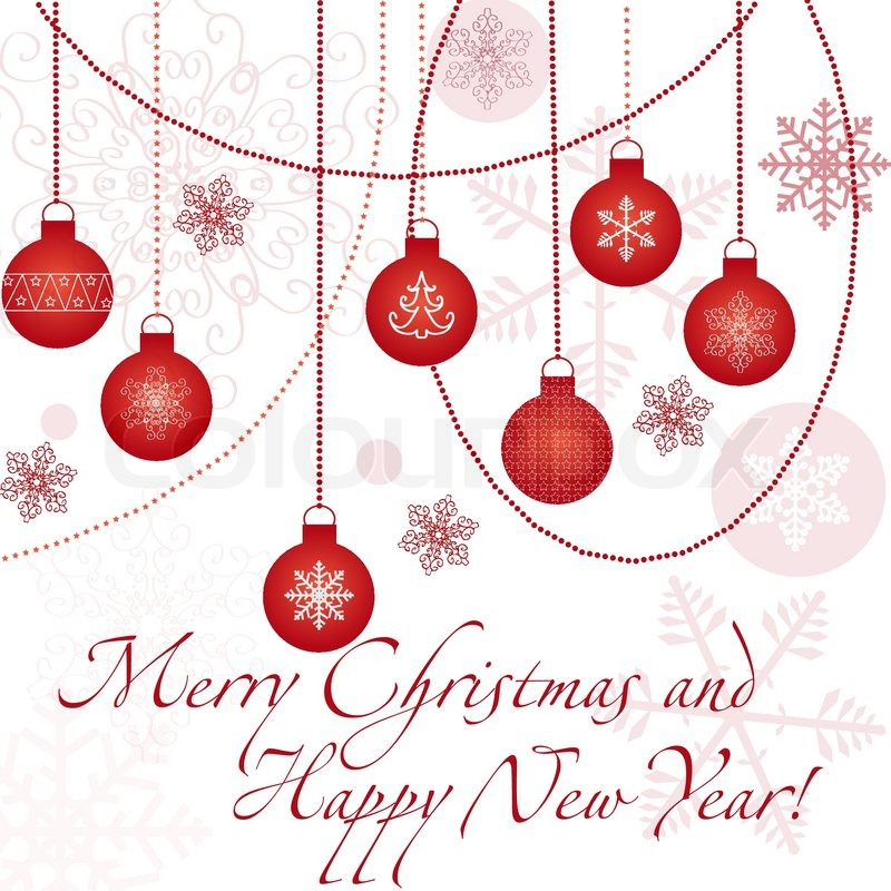 Christmas Card With Snowflakes And Balls With Sample Text