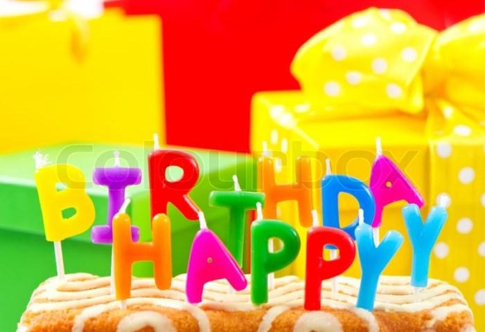Happy Birthday Cake With Multicolored Stock Image Colourbox