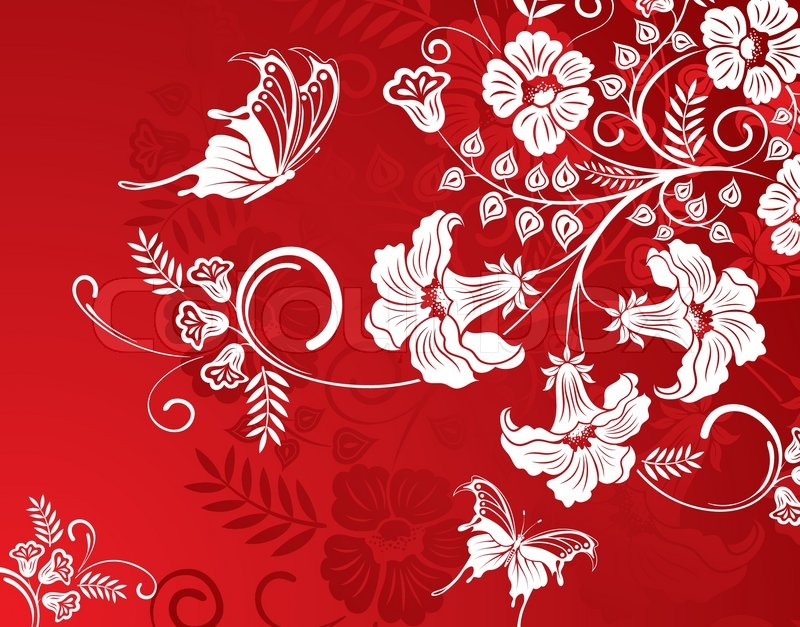 Flower Background With Butterfly Stock Vector Colourbox