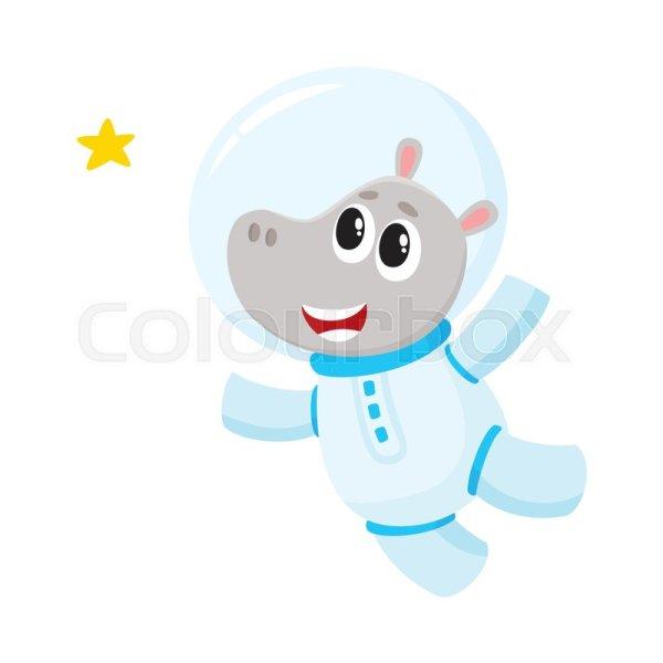 Cute little hippo animal astronaut, ... | Stock Vector ...