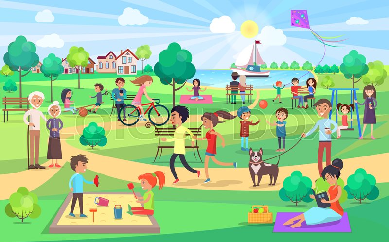 Park Activities Vector Illustration Stock Vector Colourbox