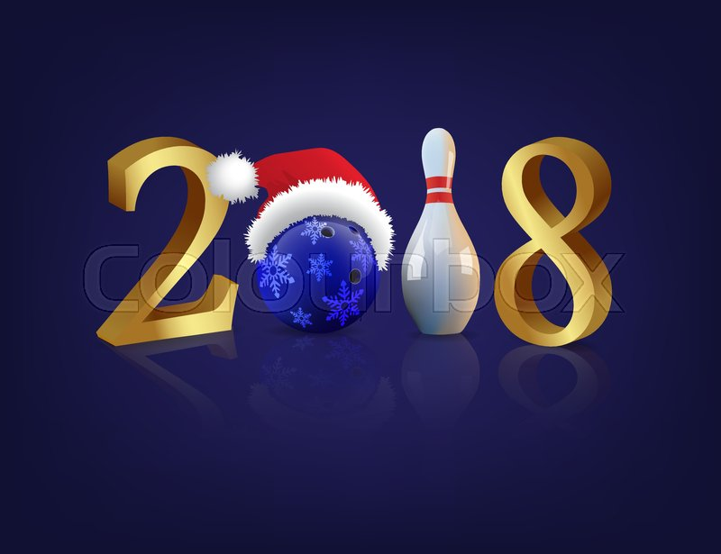 Bowling 2018 New Year sign with bowling ball and skittle on blue     Bowling 2018 New Year sign with bowling ball and skittle on blue  background  Vector 2018 New Year template    Stock Vector   Colourbox