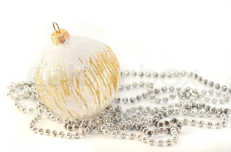Christmas Decoration White Gold Ball And Garland On White