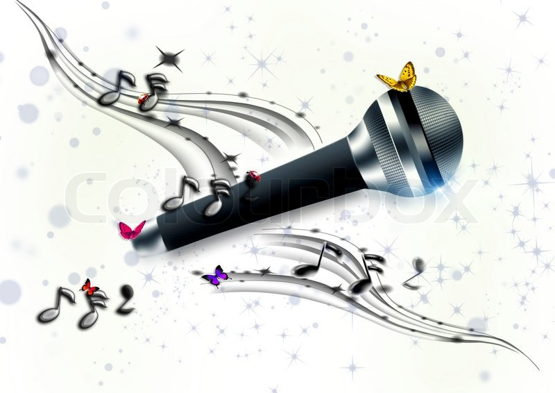 Microphone On White With Notes And Butterflies Stock