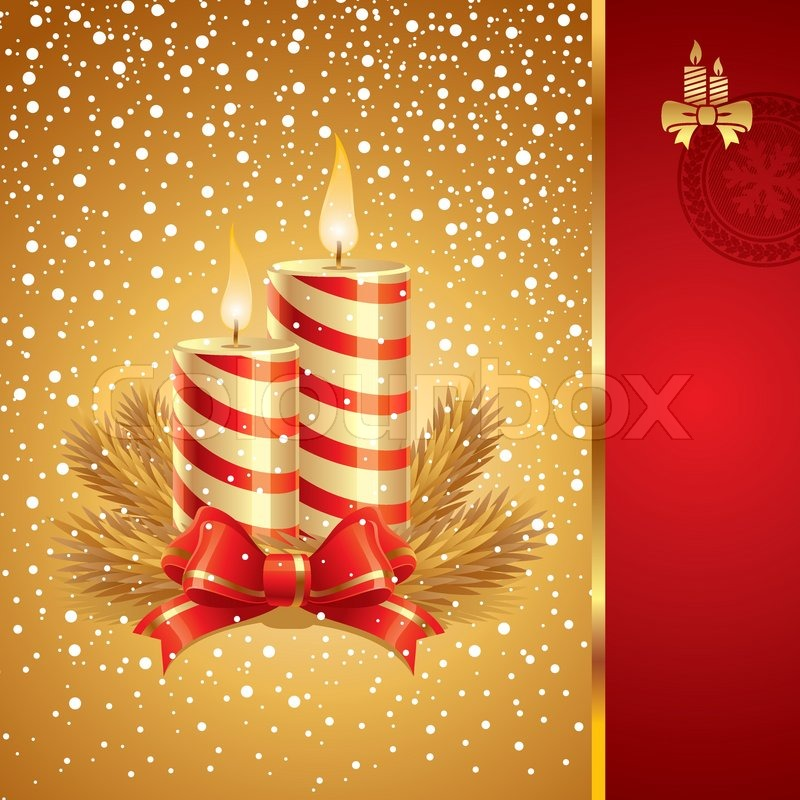 Vector Christmas Card With Holidays Candles Stock Vector