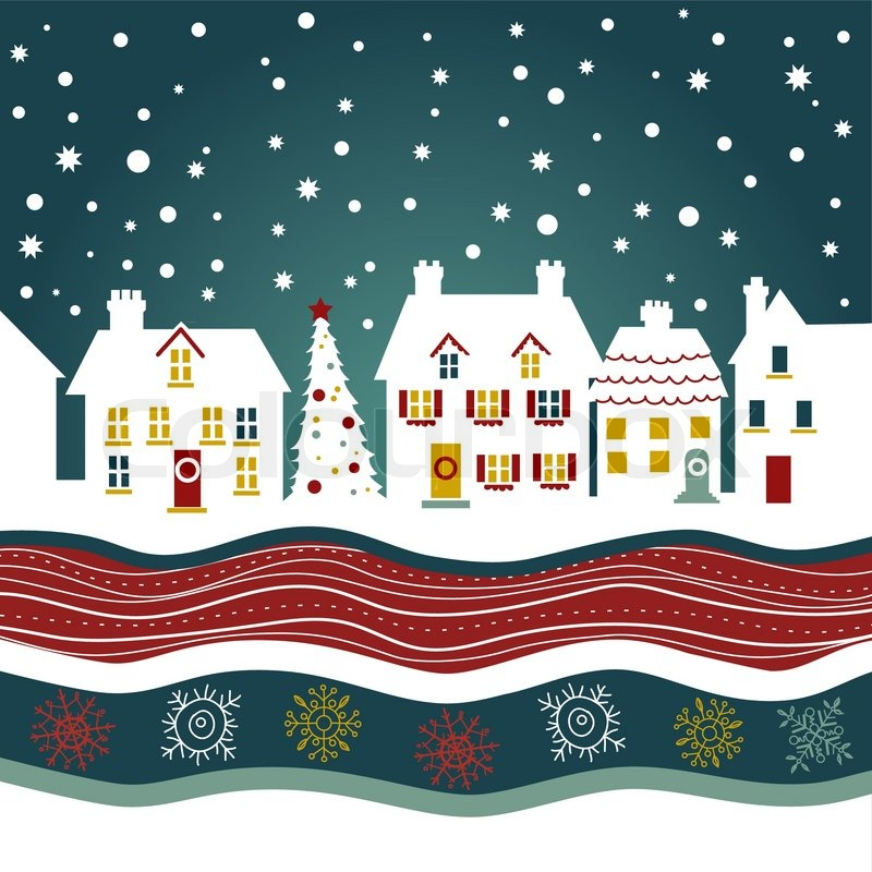 Christmas Card Cute Town At Christmas Time Stock Vector