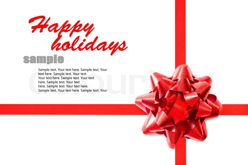 Red Ribbon With A Bow On The Holiday Letter With Sample